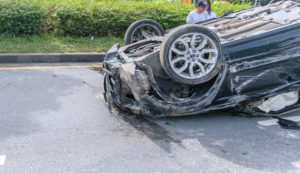 car turned over after an accident