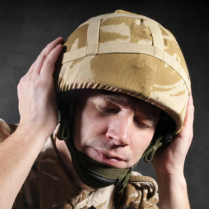 A soldier with hearing injury due to 3M earplug